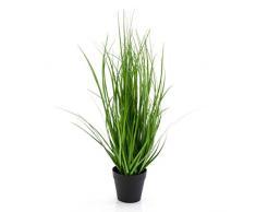 artplants.de Cannuccia di palude Decorativa Nico in Vaso, Verde-Giallo, 50cm - Cespuglio Artificiale/Graminacea Finta