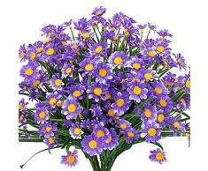 Ksnnrsng fiori doca artificiali, 4 pezzi, fiori artificiali, verde, plastica, arbusti, fiori inveri, per interni ed esterni, fiori artificiali, per casa, giardino, finestra, Box da appendere