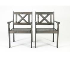 Ambiente Casa sedia del rattan mobili da giardino in legno massiccio Evje, taupe grigio, set di 2 pezzi