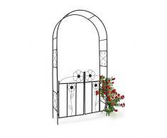 Relaxdays Arco Rose/Rampicanti per Giardino, con Porta Accesso HBT 228 X 116 X 26.5 cm, Acciaio Verniciato a Polvere, Nero