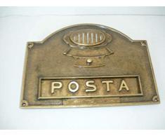 Placca Buca lettere posta in ottone brunito con citofono pulsantiera