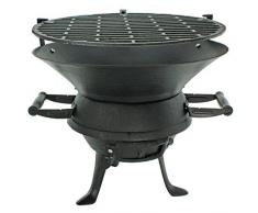 Barbecue in ghisa, a carbone o carbonella, con supporto da campeggio per esterni