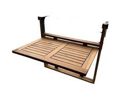 Click-Deck - Tavolo pieghevole da balcone, in legno massiccio tavolo, da appendere alla ringhiera, adatto per cene in giardino e barbecue o come tavolino di servizio