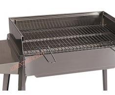 barbecue lisa acciaio inox carbonella cm 60 x 40 | barbecue giardino | terrazzo | campeggio | camper | camino