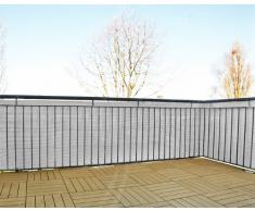 Schermo da giardino in polyrattan, balcone o steccato, tagliabile, incl. portacavi, bianco, 5 x 0,9 m