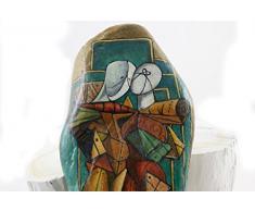 Sassi dipinti a mano con figure da De Chirico