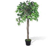 vidaXL Albero Ficus Artificiale con Vaso 110cm Pianta Finta Fiore Casa Ufficio