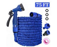 QUTAII Tubo da Giardino Estensibile, 75FT 22.5M Tubo da Giardino Tubo Acqua Giardino Flessibile Tubo Irrigazione Estensibile con 8 Funzioni di Spruzzo per Irrigazione del Giardino Lavaggio Auto (Blu)