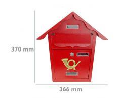 PrimeMatik - Cassetta delle Lettere Casella Postale e Posta Metallico di Colore Rosso da Parete 366 x 100 x 370 m