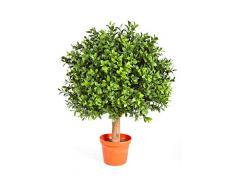 artplants.de Cespuglio di bosso Artificiale Tom con Fusto, 430 Foglie, 45cm, Ø 30cm - Pianta in Vaso/Bosso Decorativo