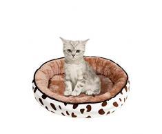 Longra Pecute Cuccia per Gatti E Cani Letto Morbido Confortevole per Animali Domestici Tondo Stampa Tappetino Cuscino Inverno Caldo di Spessore Divano per Cuccioli, S/M/L/XL