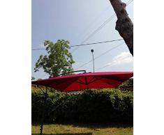 Bars EASYSHOP Ombrellone da Giardino a Sbalzo Quadrato 3x3 MT in Alluminio Rosso a Banana Decentrato Ristorante Bar Locale Balcone Terrazzo Esterno con Telo in Poliestere Impermeabile