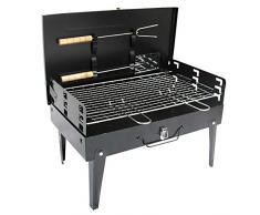 BBQ-- Barbecue Portatile Grill Barbecue Carbone Barbeque Giardino fornacella per arrosticini,per Picnic con Gli Amici, Riunione di Famiglia in Balcone e Giardino,47 * 26.5 * 21cm