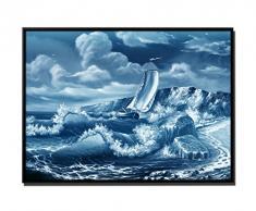 105 x 75 cm quadro - colore Blu Petrol - su Tela inkusive ombra fughe telaio Nero - pittura vela nave affrontando mare
