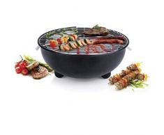 Piushopping Barbecue Elettrico da Balcone per Esterno, BBQ da Tavolo, Grill Portatile Rotondo, 1250W - D.30 cm, Nero