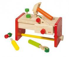 Goki 58871 - Banco da lavoro con box porta attrezzi, 15 pezzi