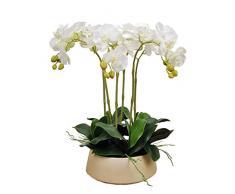 Orchidee di Fiori Artificiali, Falso Phalaenopsis Orchid Arrangiamento Floreale con Vaso doro, Orchidee Bonsai per casa/Ufficio/Festa di Nozze, Bianco