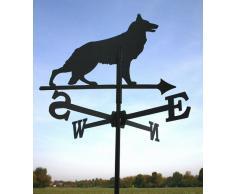 SvenskaV - Cane segnavento piccolo, in acciaio, 39 x 66 cm, colore nero