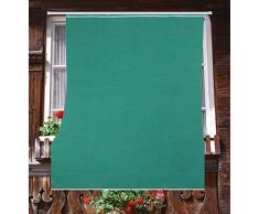 Tenda da Sole da Esterno per Balcone in Tessuto Resistente Misura cm 140x250 in 100% Poliestere con Anelli Dis. 5 Verde