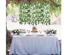 MIHOUNION 50 pz artificiale vite verde ghirlanda di seta finta salice rattan vimini ramoscello faux per la festa di nozze di fiori davanzale balcone decorazione cortile