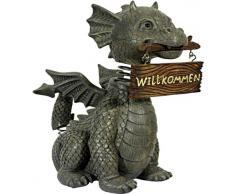 Statua drago gargoyle da giardino con testa oscillante e insegna di benvenuto