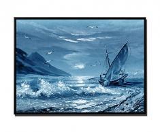 105 x 75 cm quadro - colore Blu Petrol - su Tela inkusive ombra fughe telaio Nero - pittura vela barca al tramonto