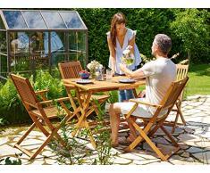 Deuba Set da pranzo da giardino 5 pezzi Sydney tavolo e sedie in legno di acacia Certificato FSC terrazzo balcone patio
