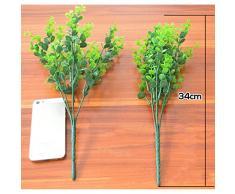 Funpa 5 Grappoli di Foglie di Piante di Plastica Simulate Eucalipto Arbusto Artificiale Decorazioni per la Casa Giardino