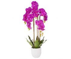 SPRINGOS orchidea artificiale con fiori e vaso in ceramica fiore artificiale pianta artificiale fiori decorativi 105 cm (viola)