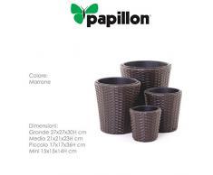 Papillon Rattan - Planter, Set di 4 unità di 14 16 23 30 cm, Marrone