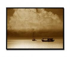 105 x 75 cm quadro - colore Sepia - su Tela inkusive ombra fughe tempesta vela barca - cornice nera Thailand