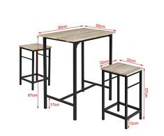 SoBuy® Set 3 Pezzi Tavolo con 2 sgabelli, Set di mobili da Balcone,OGT10-N,IT…