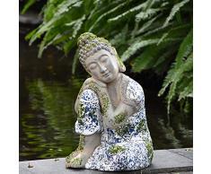 Cvbndfe-GN Statua del Giardino Zen Imitazione Blu Bianco Buddha Cinese Decorazione Style Ossido di magnesio Garden Sleeping Buddha Scultura per Cortile Esterno Coperto