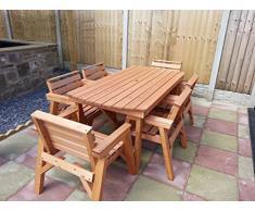 Set di mobili da giardino in legno. 'Tavolo e 6 sedie