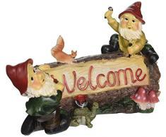 Garden Gnome Statue - Saluto del giardino Gnomi Welcome Sign - Prato Gnome