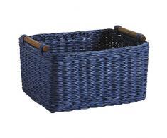 Cestino portaoggetti in rattan ambrato Blu