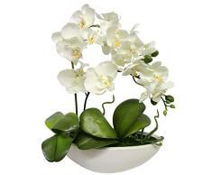 Flair Flower - Orchidea Artificiale con Fiori Artificiali, Orchidea Artificiale, con Vaso, Bianco, 27 cm
