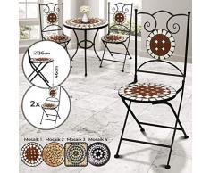 Jago Sedie a Mosaico - Set da 2, Pieghevoli, Rotonde (Ø 36x92cm) o Quadrate (36x36x92cm) - Sedia Bistro da Esterno, Giardino, Sgabello da Balcone con Effetto Mosaico