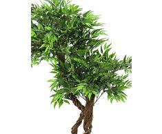 Salice artificiale con chioma a boccia e 2650 foglie, tronco naturale, 145 cm - Salice decorativo / Pianta artificiale - artplants