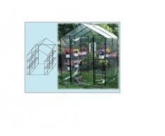 Serra da giardino per piante e fiori struttura in acciaio 4 ripiani,copertura Pvc L143XP143H195