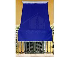 Tenda da Sole con Kit Ganci e Anelli in Tessuto Resistente da Esterno o Balcone Misura cm 140x250 Dis.5 Tinta Unita Colore Blu