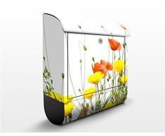 Cassetta postale Wild Flowers | 39x46x13cm Cassetta per lettere Cassetta postale di design con Supporto Giornale Cassetta postale con giornale rotolo Post Box, Dimensione: 46cm x 39cm