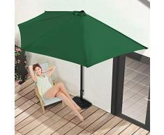 Miadomodo Ombrellone terrazzo per balcone da parete mezzaluna semirotondo colore verde