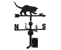 Segnavento, motivo: gatto e topo, in ferro forgiato, 97 x 47 x 47 cm