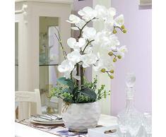 Cldada Orchidee Artificiali Phalaenopsis Soggiorno Decorazione Floreale Finta Decorazione Floreale in Vaso Bianco 65 × 40Cm