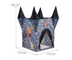 Relaxdays 10022463 Tenda Gioco per Bambini Castello Fantasmi Casetta Bimbi Bimbe da 3 anni in su HxLxP: 132 x 110 x 110 cm Grigio