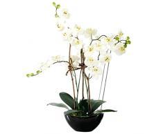 Pureday Pianta Artificiale Orchidea Bianca - con Vaso in Ceramica Nera - Altezza Circa 70 cm