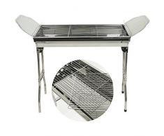 Barbecues Grills BBQ Griglia,Barbecue Rack Carbone Pieghevole per Picnic Riunione di Famiglia in Balcone e Giardino, Campeggio,in acciaio inox,70*33*74cm