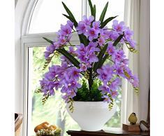 LOF-fei Orchidea artificiale la seta home decor tavolo da pranzo accessori in,l'viola rotonda in ceramica vasi di fiori