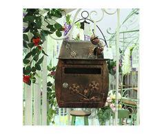 Classico europeo con Villa Mailbox pastorale retro cassetta delle lettere da parete esterna impermeabile spessa cassetta postale con serratura Bronze 1